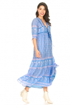 Antik Batik |  Cotton maxi dress with floral print Mori | blue