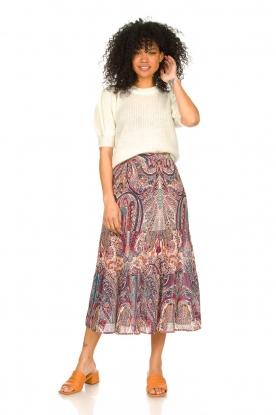 ba&sh |  Midi skirt with paisley print Bahia | pink