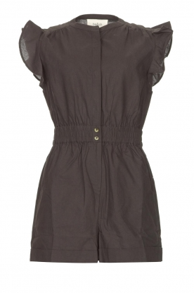 ba&sh | Cotton playsuit with ruffles Cecile | black