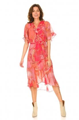 Hale Bob | Midi-jurk met print Chelsea | roze