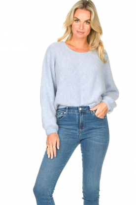 American Vintage |  Knitted sweater with bat sleeves East | blue