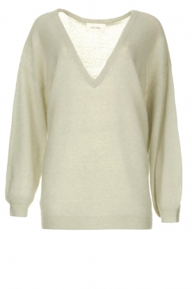 American Vintage | Knitted sweater with v-neck Kybird | green