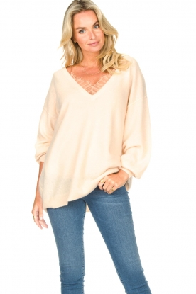 American Vintage |  Knitted sweater with v-neck Kybird | natural