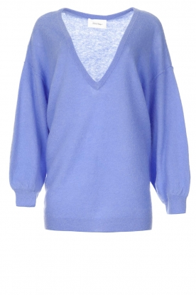 American Vintage | Knitted sweater with v-neck Kybird | blue