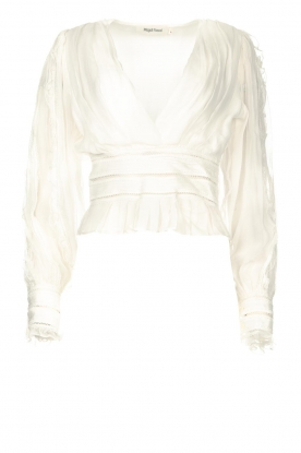 Magali Pascal | Ruffles top with lace Eve | white