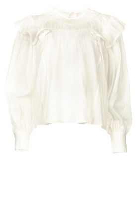 Magali Pascal |  Romantic top with balloon sleeves Giselle | white
