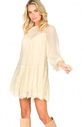 Magali Pascal | Gesmokte jurk met kant Dalia | naturel
