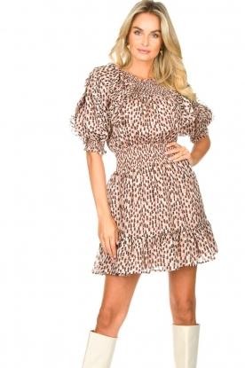 Magali Pascal |  Ruffle dress with puff sleeves Petal | pink
