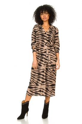 Les Favorites |  Midi dress with zebra print Kiki | black