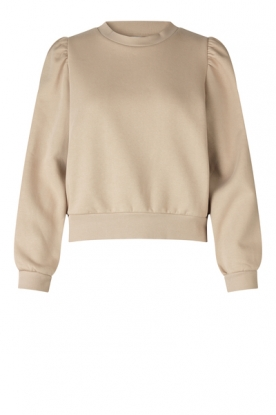 Second Female |Katoenen sweater met pofmouwen Carmella | beige