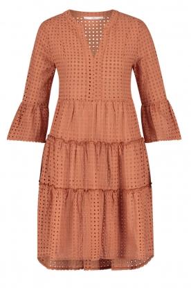 Aaiko | Katoenen broderie jurk Kampur | oranje