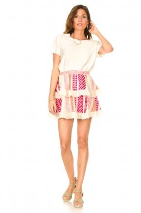 Look Cotton ruffle skirt with print Bali