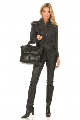 STUDIO AR |  Leather puffer bag Medium Isadora | black