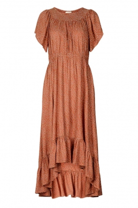 Lolly's Laundry |  Midi dress with dotted print Flora | brown