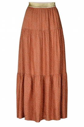 Lolly's Laundry | Maxi-rok met glimmende tailleband Bonny | bruin