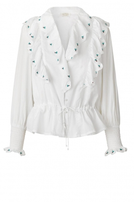 Notes Du Nord | Cotton blouse with ruffles Tenna | white