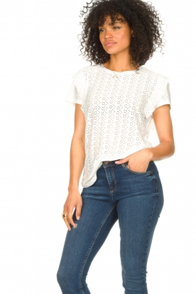 Aaiko   Broderie top Sally   wit