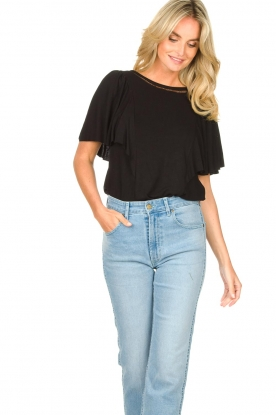 Aaiko     Top with butterfly sleeves Venira   black