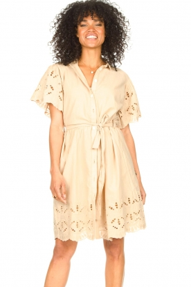Aaiko | Katoenen broderie jurk Caima | beige