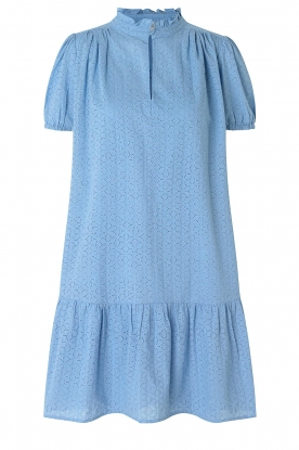 Second Female | Cotton broderie dress with puff sleeves Bilbao | blue