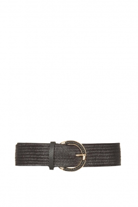 Little Soho |  Wicker belt with golden fastening | black