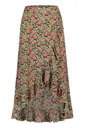 Freebird | Maxi skirt with floral print Alina | green